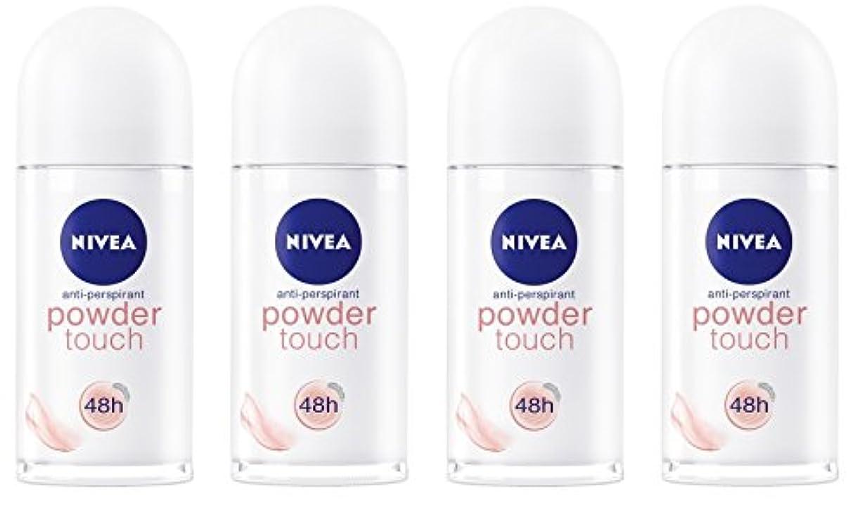 ペンダント規制する貯水池(Pack of 4) Nivea Powder Touch Anti-perspirant Deodorant Roll On for Women 4x50ml - (4パック) ニベアパウダータッチ制汗剤デオドラントロールオン...