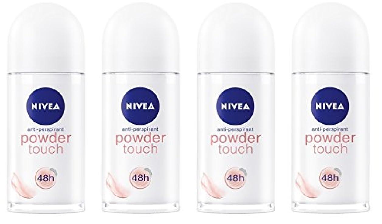 スピン適合探検(Pack of 4) Nivea Powder Touch Anti-perspirant Deodorant Roll On for Women 4x50ml - (4パック) ニベアパウダータッチ制汗剤デオドラントロールオン...