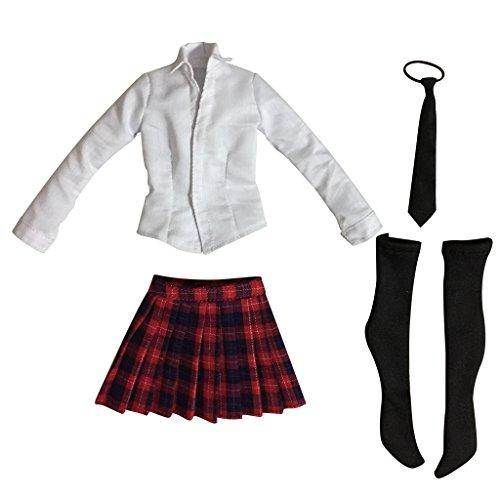 【ノーブランド品】 1/6 学生  制服  シャツ  スカート  セット  12インチ アクション女性人形用 5色選べる - レッド