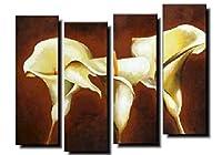 【油彩画SHOP ART】手書きの油彩画 アートパネル 4パネルセット 3つの白いお花 W0803 モダンアート 絵画 インテリア 壁掛け 油絵 油彩画 植物 壁飾り 新築祝い 花 自然 シック