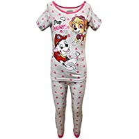 American Marketing Paw Patrol Skye, Marshall, Chase and Rubble Black and White Stripped with Hearts Pajama Set