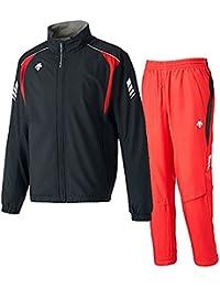デサント(DESCENTE) ウインドジャケット&パンツ 上下セット(ブラック/レッド) DRN-3710-BLK-DRN-3710P-RED