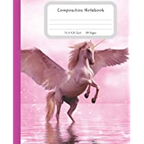 Composition Notebook: 7.5X9.25 109 Pages Pink Sparkling Background Unicorn Half Blank Half Wide Ruled School Exercise Book With Picture Space For Grades K2 Primary Elementary Secondary School Kids - Draw And Write Your Own Stories