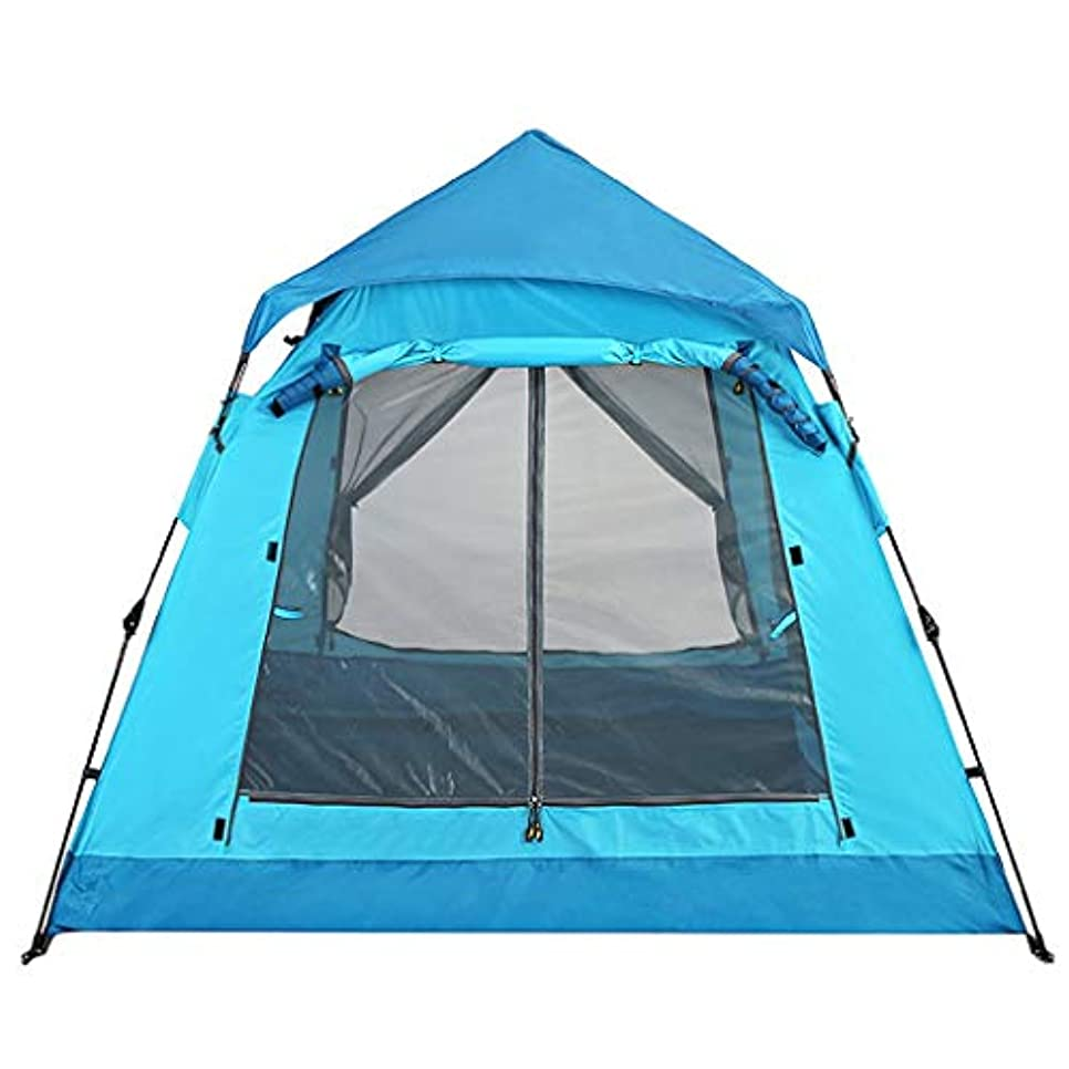臨検ぼろ代表するIDWOI テント テントキャンプ自動プレスポップアップ軽量ドームテント厚み防雨2人家族テント、2色 (Color : Blue)