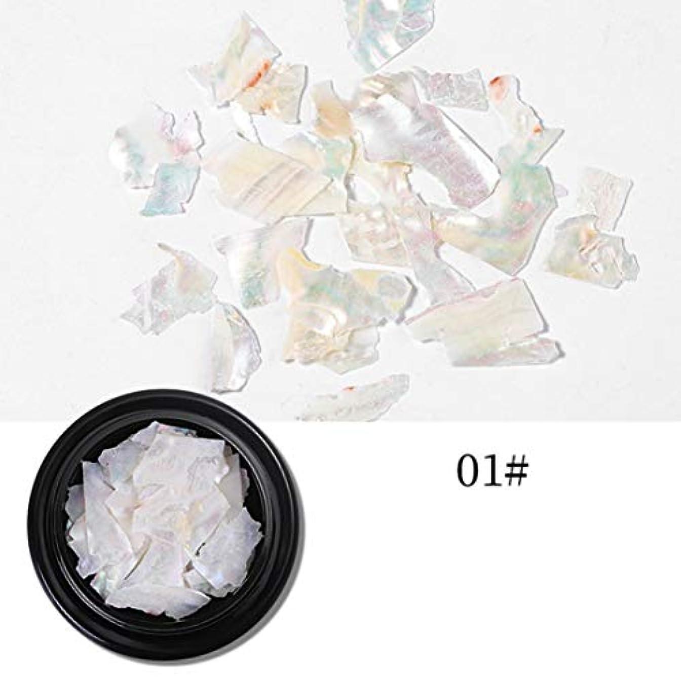 不適当道不要Yoshilimen 十分な1箱天然シェル石ネイルアート装飾長方形正方形フレークシェル砕石(None 1# thin shell pieces)