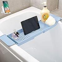 バスタブトレー バスタブラック 浴室用ラック バステーブル バスラック 伸縮式 ズレ防止 大容量 水切り お風呂用品 (藍)贈り物 スマホスタンド