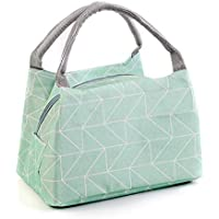 Reusable Printed Lunch Bag Non-Toxic Eco-Friendly Canvas Fabric Insulated Waterproof Aluminum Foil Lunch Box Tote Handbag for Women Students Bento Cooler Baggreen