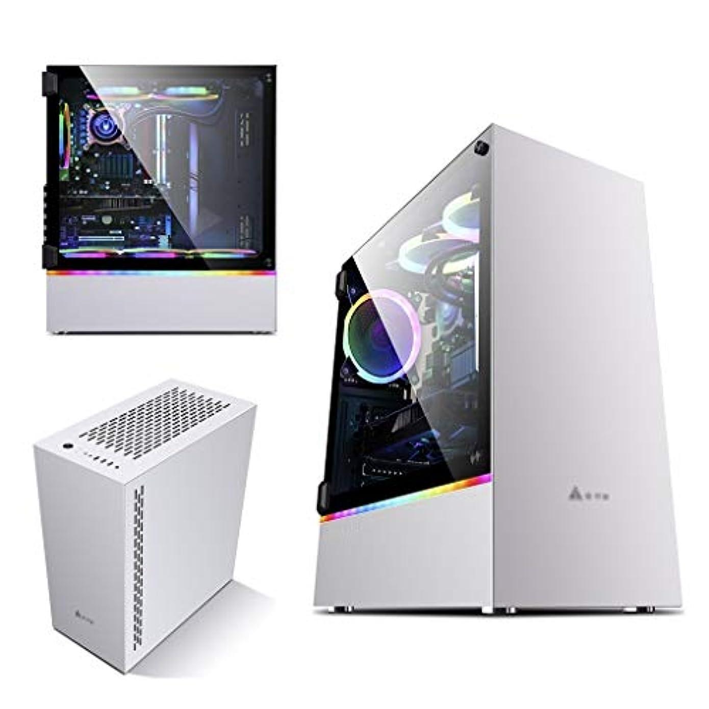 信号液体無心デスクトップPCのコンピュータ用ゲームケース、ミッドタワーE-ATX/ATX/M-ATX/ITX PCゲームコンピュータケース、両側に完全に透明な、