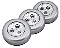 (Silver) - Techno Earth LED Battery-Operated Stick-On Tap Push Light for Night, Closets, Attics, Garages, Car, Sheds, Storage Room, 3 Pack - Silver