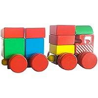 MagiDealキュートベビーキッズ教育玩具木製磁気列車bulidindブロックStacking Toyパズルゲーム