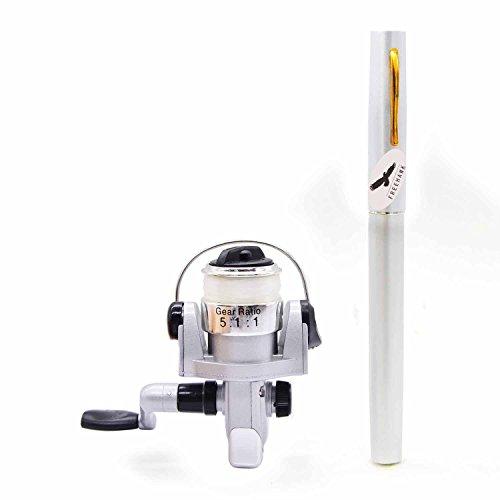 (Silver) - PiscatorZone Mini Pocket Pen Fishing Rod Set Carbon Fibre Telescopic Fishing Pole Pocket Travel Fishing Kit Sea Fishi