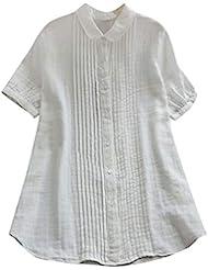 女性の半袖Tシャツ - ピーターパンカラー夏緩い無地カジュアルダウントップスブラウス (白, L)