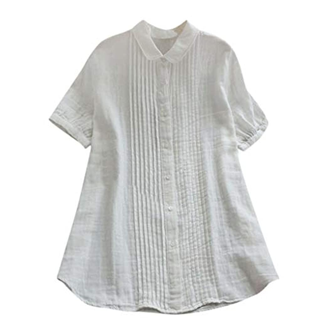 会員豊富にとても多くの女性の半袖Tシャツ - ピーターパンカラー夏緩い無地カジュアルダウントップスブラウス (白, L)