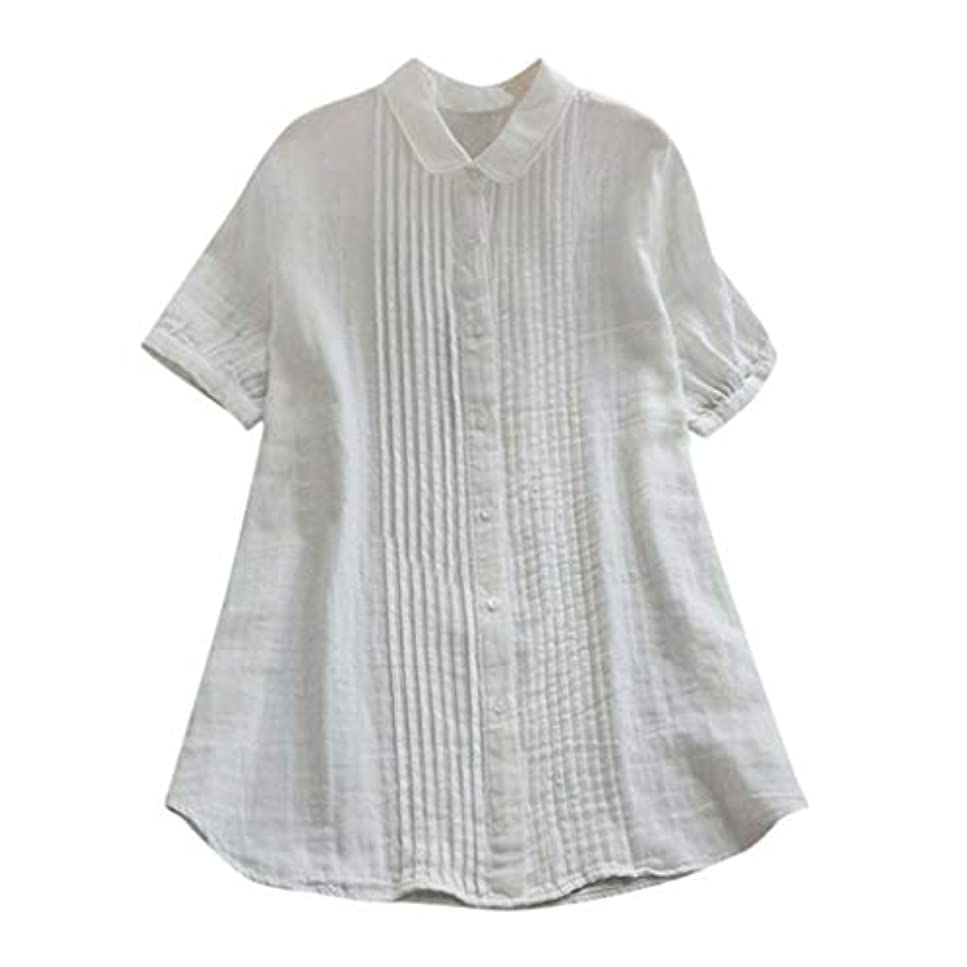 災難近傍ブラインド女性の半袖Tシャツ - ピーターパンカラー夏緩い無地カジュアルダウントップスブラウス (白, L)