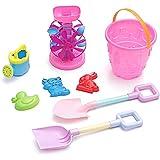 YanGbeau 夏の砂プール熱いおもちゃ子供プラスチックビーチおもちゃ砂時計風車バケツセット (Color : Pink)