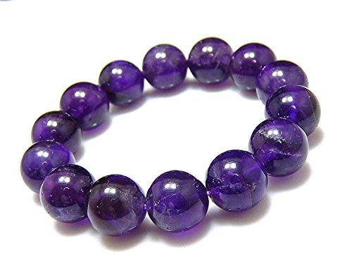 [해외]京珠堂 3A 깊이 보라색 자수정 자수정 14mm 화장품 상자인가 천연석 팔찌/Keihodo 3A deep purple purple crystal amethyst 14mm genuine stone bracelet with cosmetic box