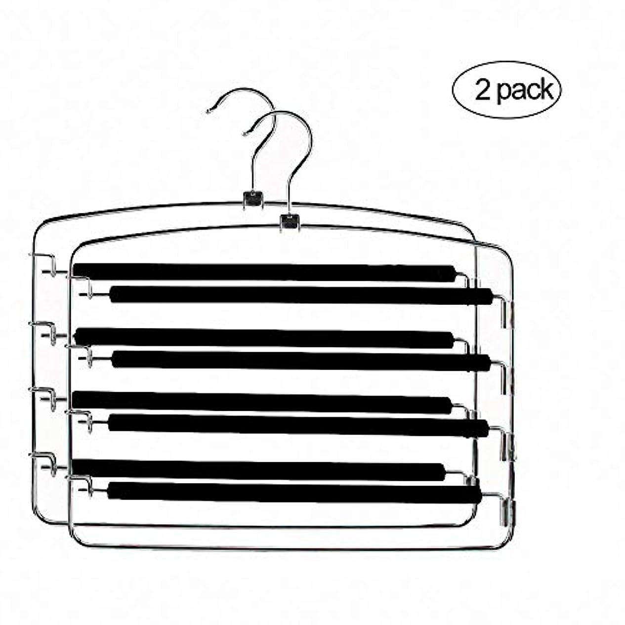 抱擁サロン伝統ズボンハンガー 2本セット ステンレス鋼ハンガー 滑り止め スラックスハンガー すべらない スラックスハンガー4段 シルバー(黒 2本)
