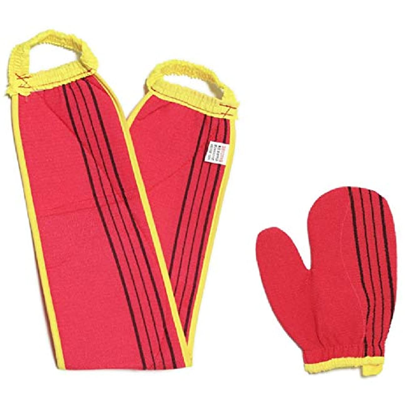 経験クロス引数(韓国ブランド) スポンジあかすりセット 全身あかすり 手袋と背中のあかすり 全身エステ 両面つばあかすり お風呂グッズ ボディタオル ボディースポンジ (赤色セット)