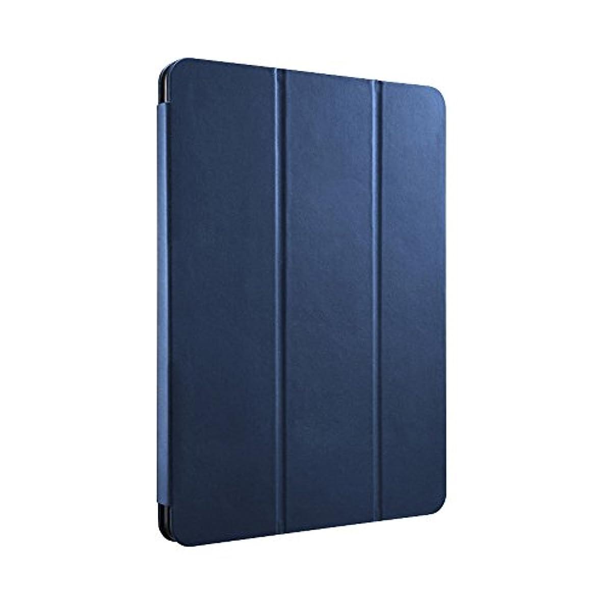 いたずら招待資産BUFFALO 2017年iPad 9.7インチ用 レザーケース 3フラップ ブルー BSIPD1709CLFBL