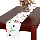 GGSXD テーブルランナー 咲くバラ クロス 食卓カバー 麻綿製 欧米 おしゃれ 16 Inch X 72 Inch (40cm X 182cm) キッチン ダイニング ホーム デコレーション モダン リビング 洗える