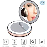 Nocalen 10x LED Lighted Makeup Mirror, 1X/3X Magnification with Touch Screen USB Charging Travel Cosmetic Mirror
