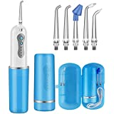 Upgraded Water Flosser Portable and Rechargeable Cordless Oral Irrigator with 5 Jet Tips, IPX7 Waterproof Water Dental Flosser with 4 Modes for Braces & Bridges Care, Travel Home Office, 240ML