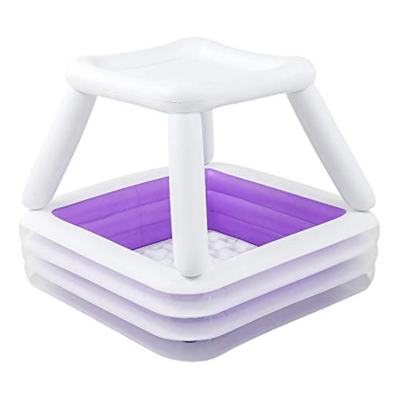 モダンデコ サンシェードプール 屋根付き ビニールプール ファミリープールキッズプール ベビープール (ラベンダー 電動ポンプ付)