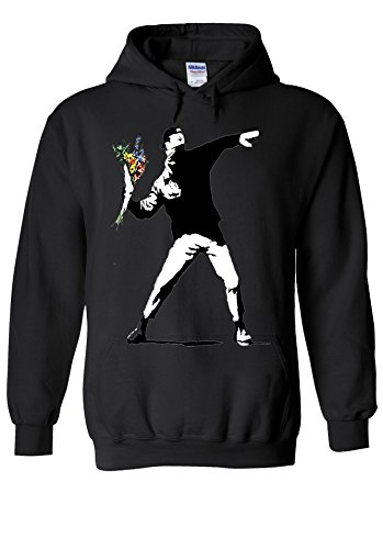 Banksy Flower Thrower Peace Novelty Black Men Women Unisex Hooded Sweatshirt Hoodie-L