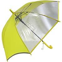 安全 反射テープ付 【無償修理対象】 丈夫な耐風骨 ひっくり返っても元通り 見通しの良い ビニール 2面 55cm ジャンプ傘 子供用傘 (黄)
