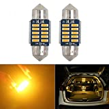 HSUN T10*31MM LED バルブ 両口金 C5W 10連LED SMD4014チップ、CANBUSキャンセラー内蔵、簡単取付12V車用、ルームランプ、ナンバー灯、 マップランプ 、カーテシランプ、黄/アンバー、2個セット