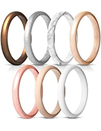 ThunderFit Women's Thin and Stackable Silicone Rings Wedding Bands - 7 Pack & Singles 2.5mm Width - 2mm Thick