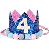 COMVIP ベビー プリンセス ヘアアクセサリー 子供用 王冠 誕生日 バースデー 帽子 クラウン ふわふわ ティアラ かわいい 記念日 コバルトブルー4