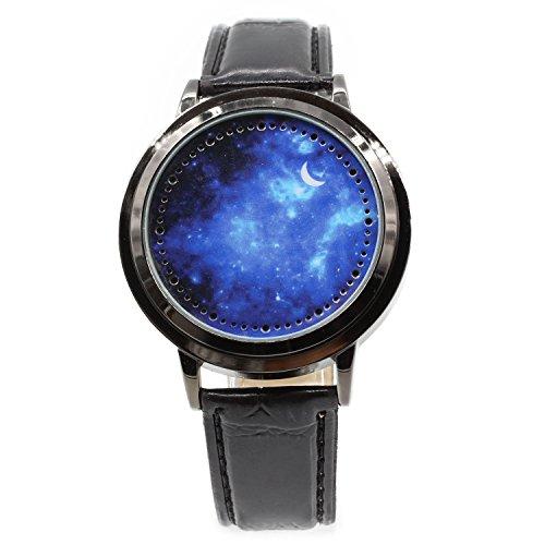 La bellezza スマートウォッチ 近未来型 LED 腕時計 上質 レザーベルト タッチ式ウォッチ ユニセックス 30m 生活防水 054f (スペース)