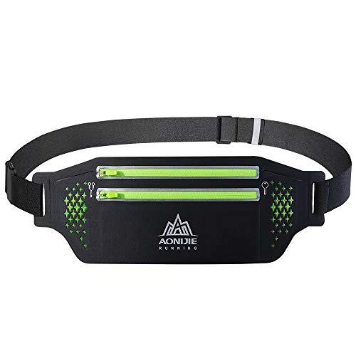 MIC ランニングポーチ ウェストポーチ ウォーキングバッグ 伸縮素材 超軽量 防汗通気 ダブルファスナー 超大収納 6.9インチまでスマホに対応 ジョギング サイクリング ブラック