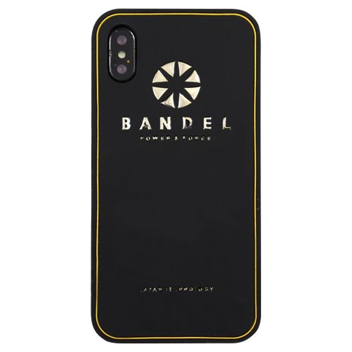 小数十分謎めいたバンデル(BANDEL) ロゴ iPhone X専用 シリコンケース [ブラック×ゴールド]