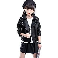 ZAKASA Girls Leather Jacket PU Motorcycle Faux Leather Moto Biker Jackets Children's Outerwear Fashion Slim Coat 3-12 Years