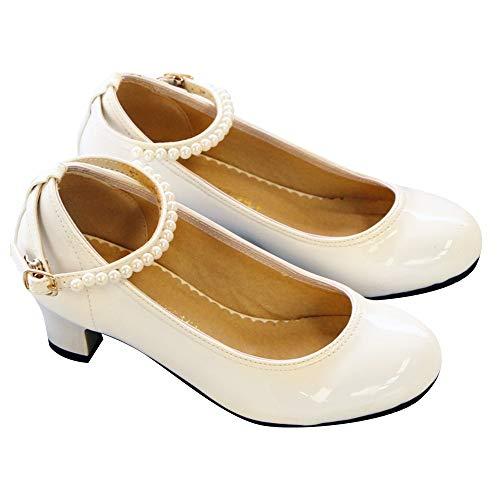 905c35e14704d6 [シャトンベリー] 子供靴 CB-005 アンクルストラップ パンプス フォーマル シューズ 女の子 結婚式 発表会 23cm ホワイト  ほんのり大人顔を演出する、エレガントな ...