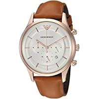 Emporio Armani Men's Quartz Stainless Steel Dress Watch, Color:Brown (Model: AR11043)