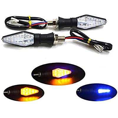 PolarLander 2pcs Universal Motorcycle Turn Signal Light Double-Sided Lighting 12V LED Bulbs Light for Motorbike Off Road