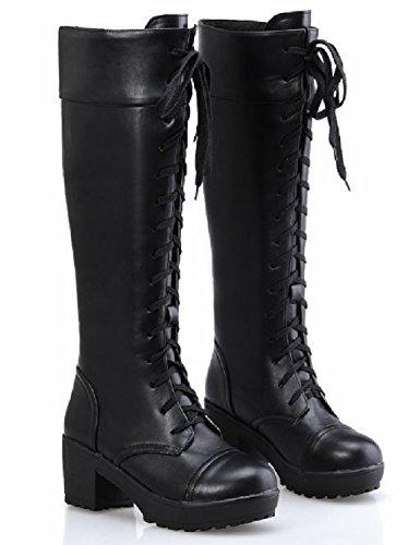 (ケージョイ) K-JOY 2WAY 美脚 ニーハイ 編込み ロングブーツ(天使の羽セット) レディース ファッション コスプレ 厚底 ブーツ 通販F201-10 (42(26.0cm), ブラック)