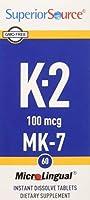 Superior Source - ビタミン K2 MK7 インスタント溶かす 100 mcg。 - 60錠剤