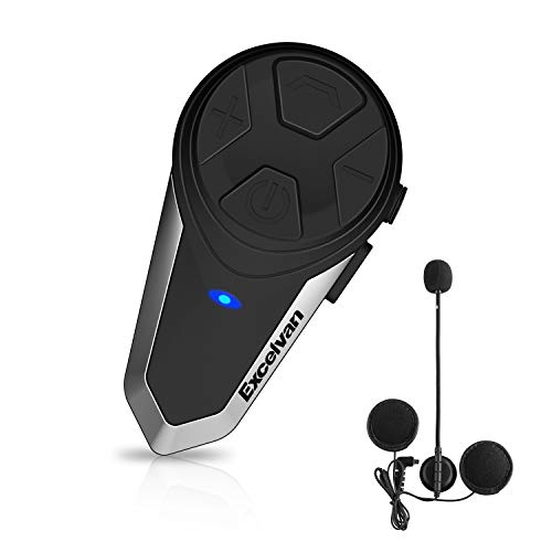 インカム Excelvan BluetoothトランシーバーBT-S3 1000m通信可能 GPS / MP3プレーヤー/ウォーキートーキー ハンズフリー&FMラジオ用の2mmオーディオケーブル ブラック (一台セット)