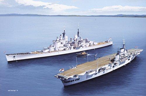 HMS VanguardとHMSは、Ivan BerrymanによるIndefatigableです。サイン入り限定版海軍アートプリント。