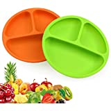 Silicone Plates Set of 2, Toddler Plates with Dividers for Baby and Kids, Divided Baby Plate, Silicon Dishes, BPA Free (Green and Orange)