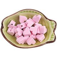 Mamimami Home シリコン製 歯固め ハートビーズ キャンディピンク 14mm/20個 歯固め石 DIY おしゃぶりのチェーン はがため ブレスレット ベビー オモチャ おしゃぶり ママ看護ネックレス 出産祝い 手作り用 アクセサリー「FDA認可済」「BPAフリー」