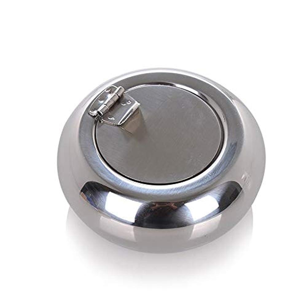 ミニチュアプランター常習者ドラム型のステンレス鋼の灰皿防風カバーヨーロッパの灰皿の人格トレンド金属煤創造的な家、高品質のステンレス鋼、防風カバー灰皿ゴールドブラック色 (色 : 銀, Size : S)