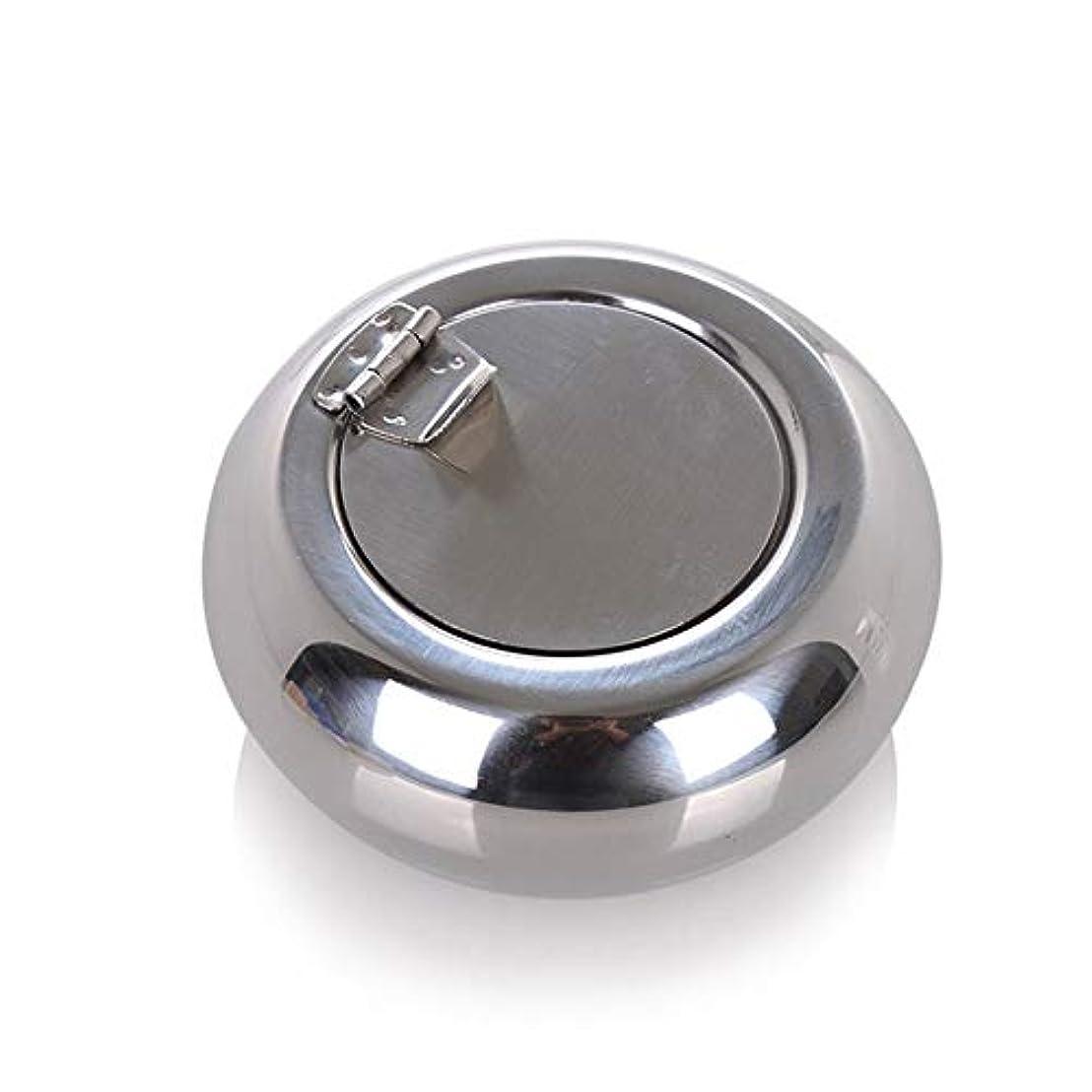 くしゃみカーペット約束するドラム型のステンレス鋼の灰皿防風カバーヨーロッパの灰皿の人格トレンド金属煤創造的な家、高品質のステンレス鋼、防風カバー灰皿ゴールドブラック色 (色 : 銀, Size : S)