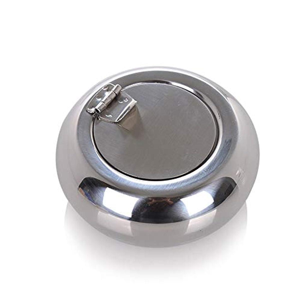 にんじんおもしろいショップドラム型のステンレス鋼の灰皿防風カバーヨーロッパの灰皿の人格トレンド金属煤創造的な家、高品質のステンレス鋼、防風カバー灰皿ゴールドブラック色 (色 : 銀, Size : S)