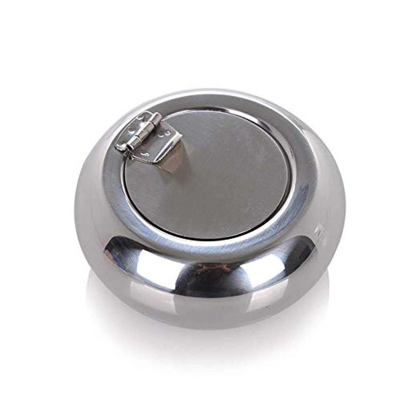 お別れ週末食料品店ドラム型のステンレス鋼の灰皿防風カバーヨーロッパの灰皿の人格トレンド金属煤創造的な家、高品質のステンレス鋼、防風カバー灰皿ゴールドブラック色 (色 : 銀, Size : S)