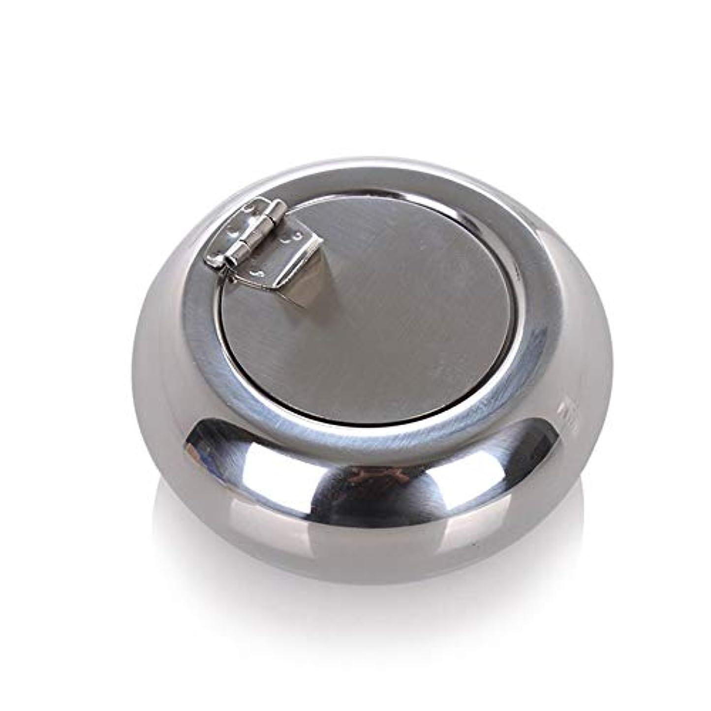 発揮するシーフード余暇ドラム型のステンレス鋼の灰皿防風カバーヨーロッパの灰皿の人格トレンド金属煤創造的な家、高品質のステンレス鋼、防風カバー灰皿ゴールドブラック色 (色 : 銀, Size : S)